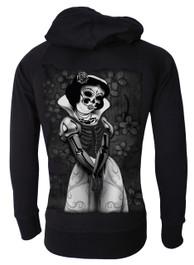 Snow White Skeleton Cotton Zip Hood