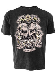 Twins Metallic Foil Black Vintage Wash T Shirt