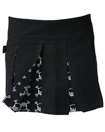 White Outline Skull Pleated Skirt