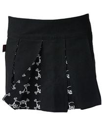 White Outline Skull Pleated Skirt
