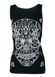White Sugar Skull Black Vest