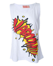 Womens Cartoon Slogan Kaboom Vest