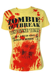 Zombie Response Womens  Yellow T Shirt