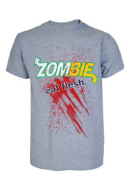Zombies Eat Flesh Grey Mens T-Shirt