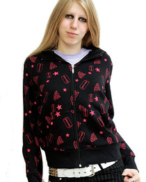 Pink Allover Diamond Womens Zip Hood