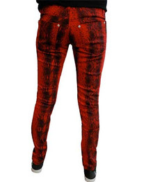 Red Snakeskin Low Rise Skinny Jeans