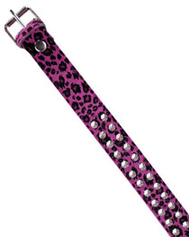 Pink Leopard Conical Stud Fur Belt 38mm
