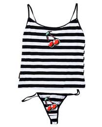 Cherrys White And Black Stripey Thong Set