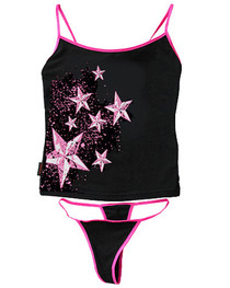 Star Splat Thong Set With Pink Trim