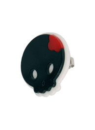 Black Plastic Round Skull Ring