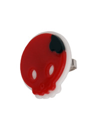 Red Plastic Round Skull Ring