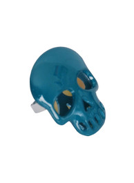 Turquoise Plastic Mirrored Skull Ring
