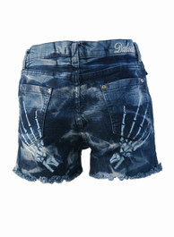 Skeleton Hands Bleach Wash Hot Pants