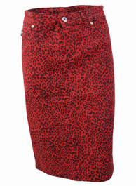 Red Leopard Denim Pencil Skirt