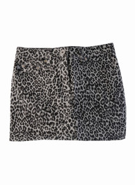 Grey Leopard Denim Mini Skirt