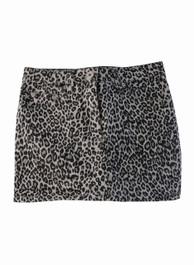 Grey Leopard Denim Mini Skirt