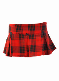 Red Tartan Pleated Ultra Mini Skirt