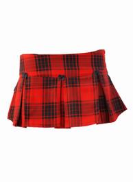 Red Tartan Pleated Ultra Mini Skirt