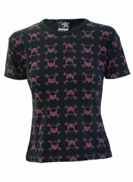 Black With Pink Outline Skulls Skinny