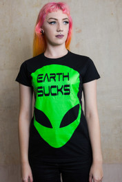 Alien Earth Sucks Womens T Shirt