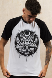 Pentagram Baphomet Mens Baseball T-Shirt