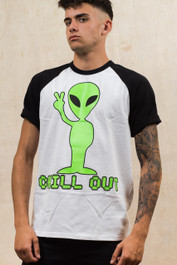 Alien Chill Out Mens Baseball T-Shirt