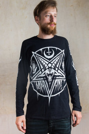Pentagram Baphomet Mens Long Sleeve T Shirt
