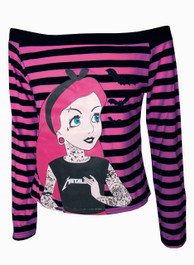 Tattoo Princess Pink Stripey Boat Neck Top