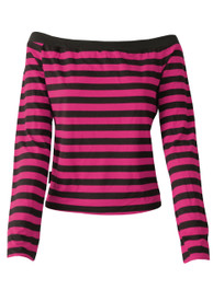 Pink And Black Stripe Boat Neck Top