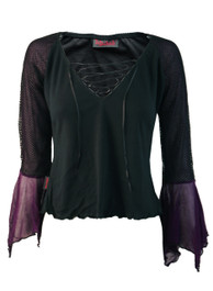 Lace Up Top With Purple Net Lined Fishnet Arms