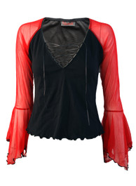 Lace Up Top With Red Net Arms