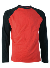 Mens Red Raglan Top With Black Sleeves