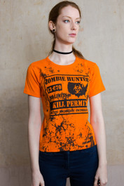 Zombie Hunter Womens Orange T Shirt