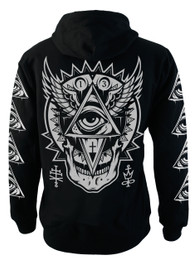 All Seeing Eye Fleece Zip Hood With Black Zip