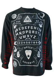 Ouija Board Red Side Stripe Long Sleeve Tie Dye T Shirt