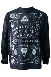 Ouija Board Black Side Stripe Long Sleeve Tie Dye T Shirt