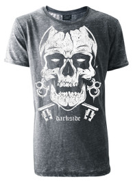 Skull Mens Grey Burnout T-Shirt