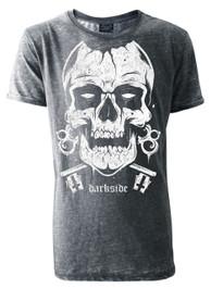 Skull Mens Grey Burnout T-Shirt