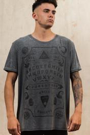 Ouija Board Mens Grey Burnout T-Shirt