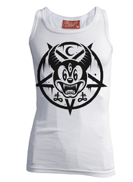Mickey 666 White Beater Vest