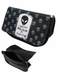 Alien Dont Believe in Humans Zip Up Make Up Bag/Pencil Case