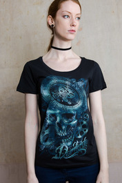 Clockwork Skull Womens Scoop Neck T Shirt