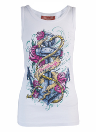 Anchor Rose White Beater Vest