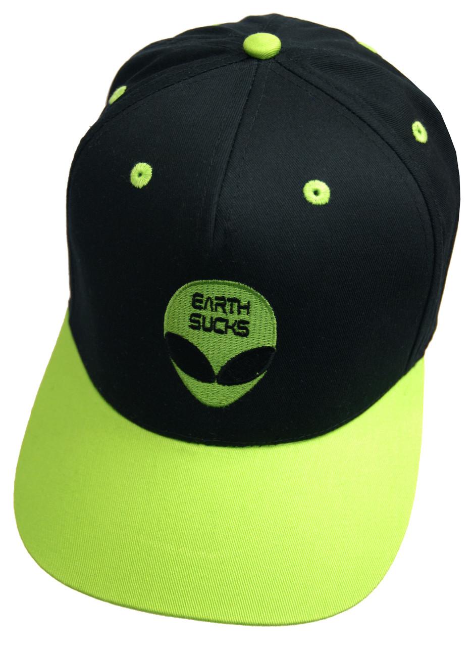 56db1d8e8db Alien Earth Sucks Green and Black Snapback Cap. Image 1