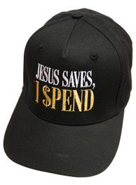 Jesus Saves I Spend Black Snapback Cap