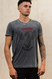 Wing Wheel Tattoo Mens Embroidered Grey Burn Out T Shirt
