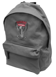 Wing Wheel Grey Embroidered Backpack