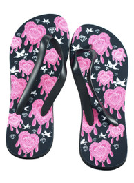 Pink Seeing Eye Tattoo Flip Flops