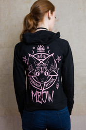 Kitten 666 Womens Skinny Zip Hood