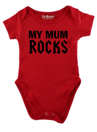 Red My Mum Rocks Baby Grow